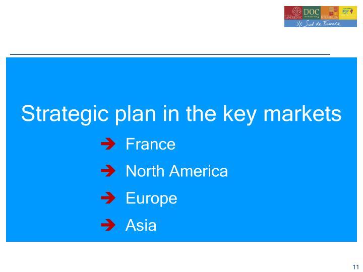 Strategic plan in the key markets