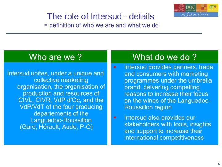 The role of Intersud – details