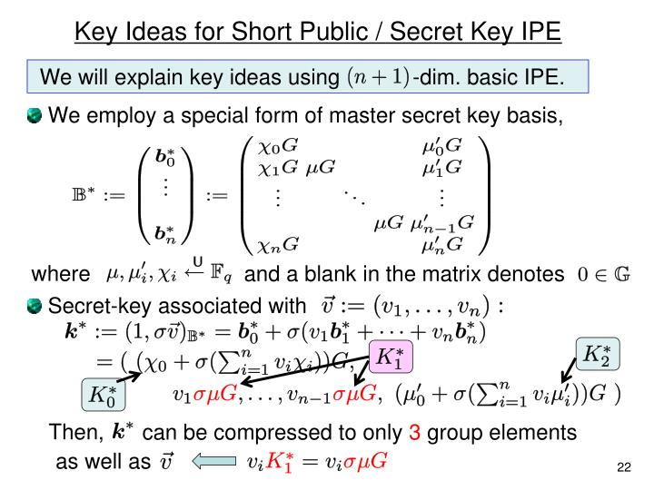 Key Ideas for Short Public / Secret Key IPE
