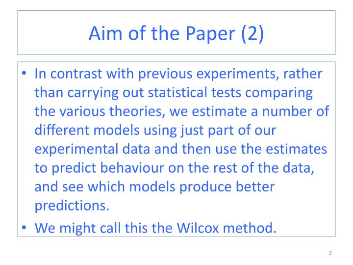 Aim of the Paper (2)