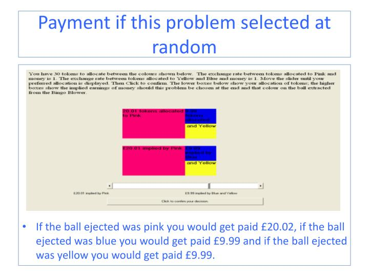 Payment if this problem selected at random