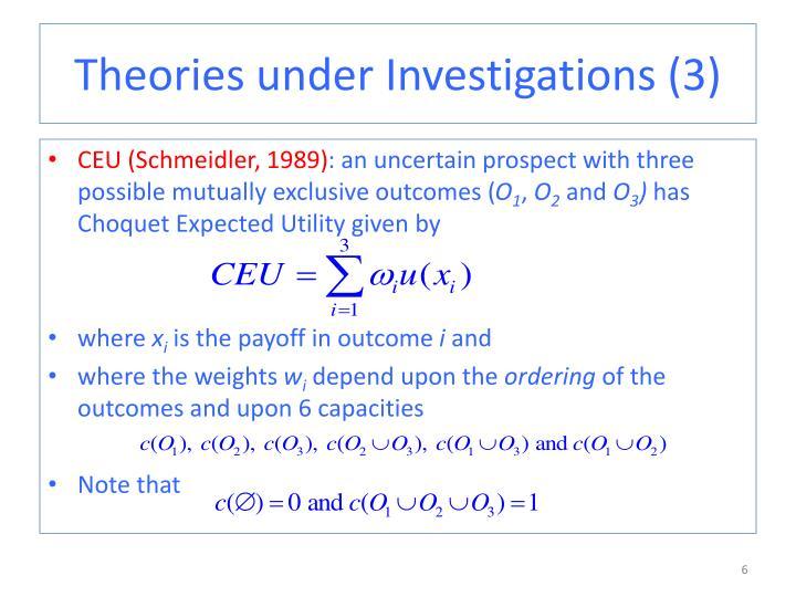 Theories under Investigations (3)