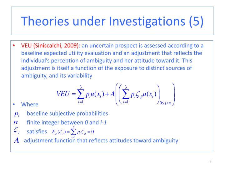 Theories under Investigations (5)