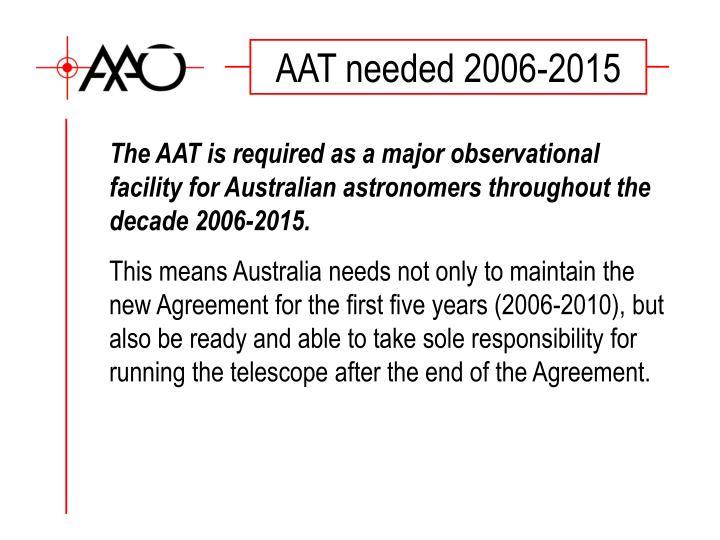 AAT needed 2006-2015
