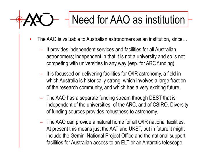 Need for AAO as institution