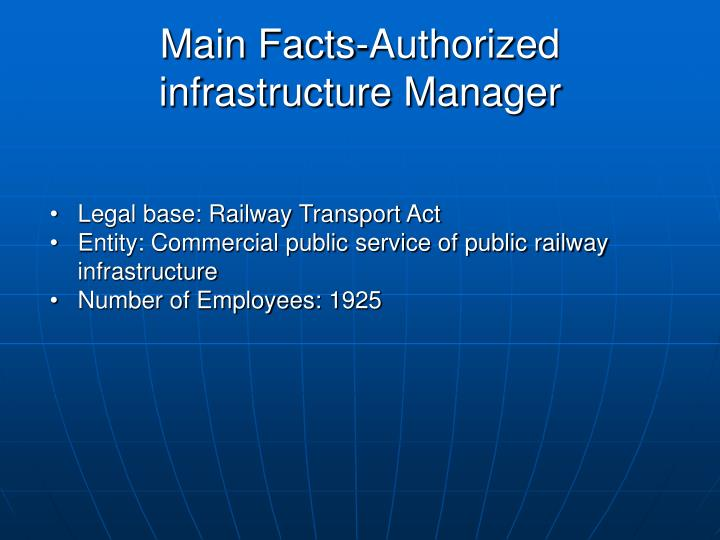 Main Facts-Authorized infrastructure Manager