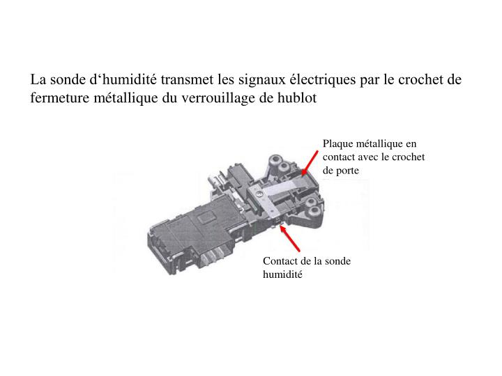 Plaque métallique en contact avec le crochet de porte