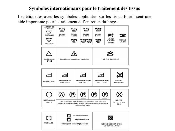 Symboles internationaux pour le traitement des tissus