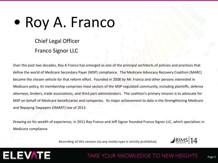 • Roy A. Franco