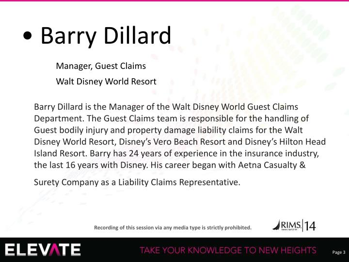 • Barry Dillard