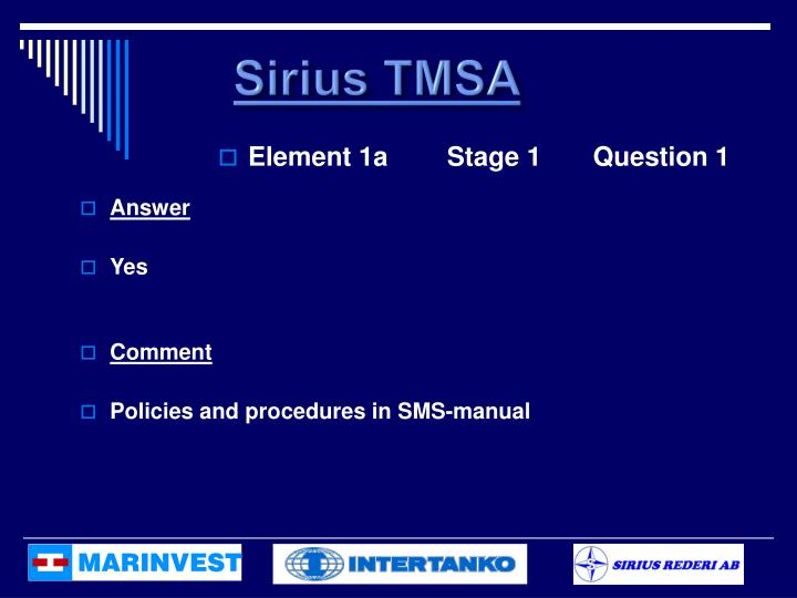 Sirius TMSA