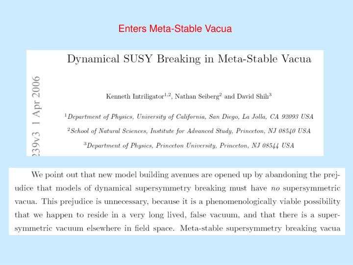 Enters Meta-Stable Vacua