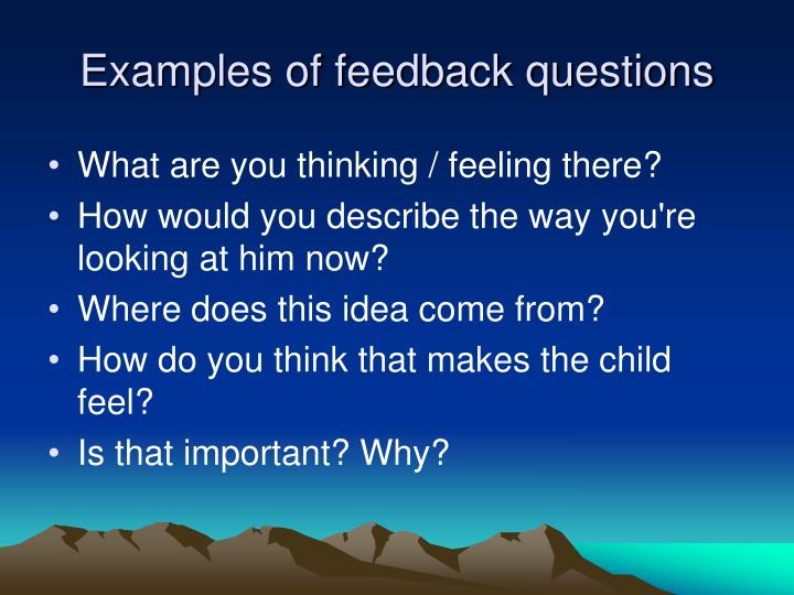 Examples of feedback questions