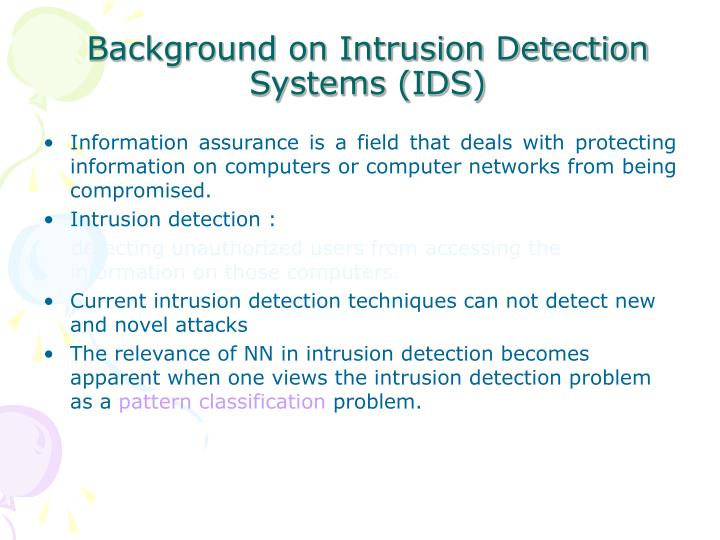Background on Intrusion Detection Systems (IDS)