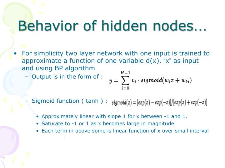 Behavior of hidden nodes