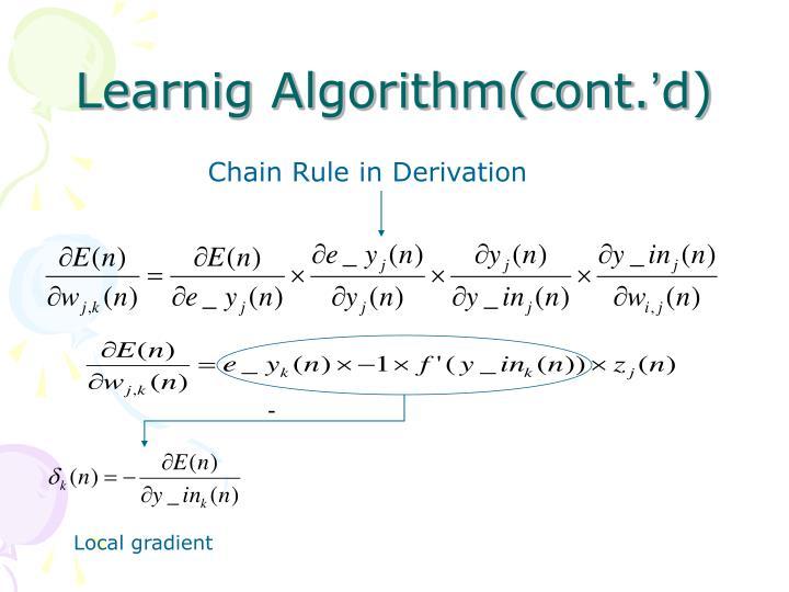 Learnig Algorithm(cont.