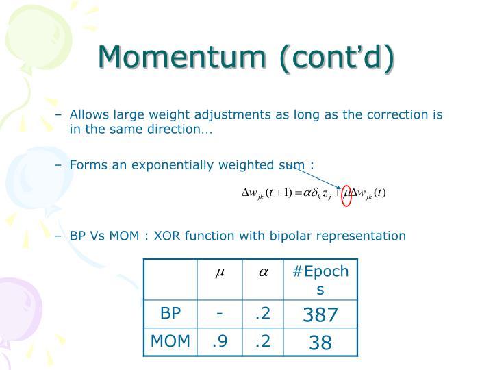Momentum (cont