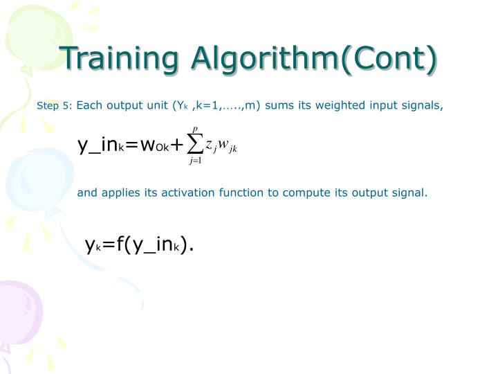 Training Algorithm(Cont)