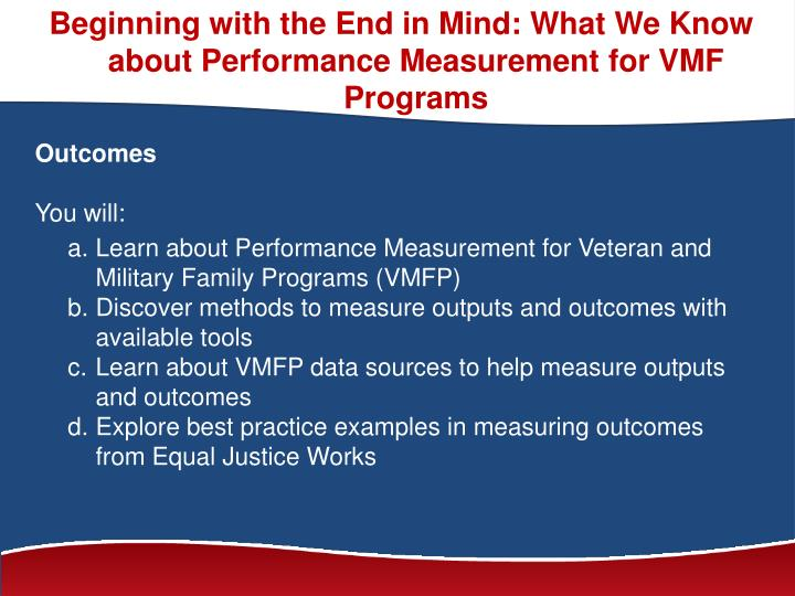Beginning with the End in Mind: What We Know about Performance Measurement for VMF Programs