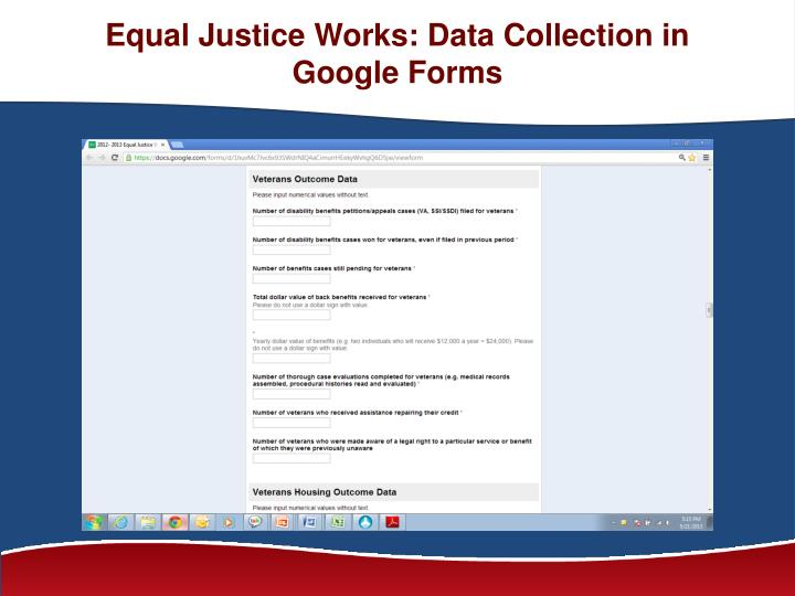 Equal Justice Works: Data Collection in Google Forms