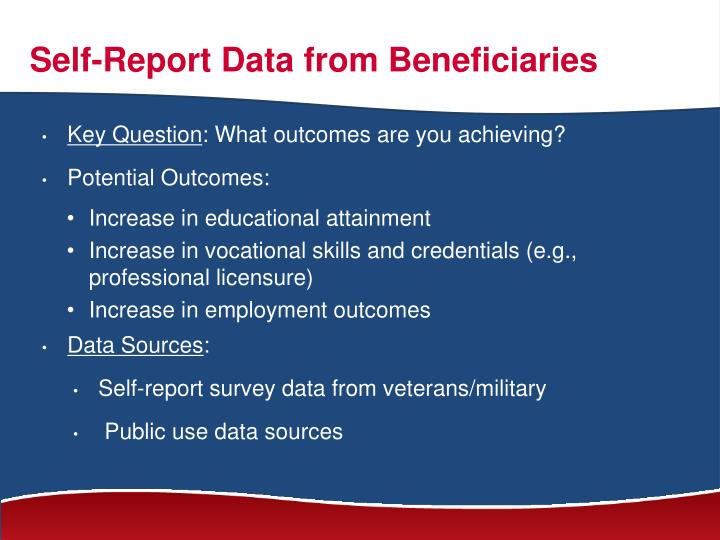 Self-Report Data from Beneficiaries