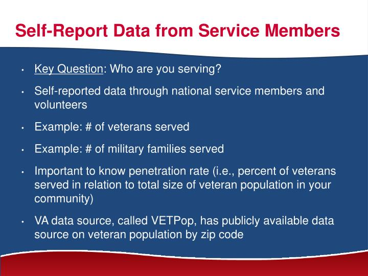 Self-Report Data from Service Members