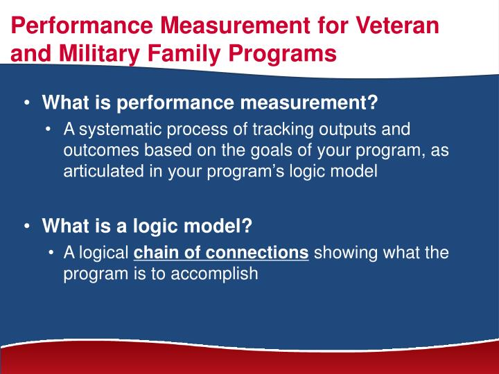 Performance Measurement for Veteran and Military Family Programs
