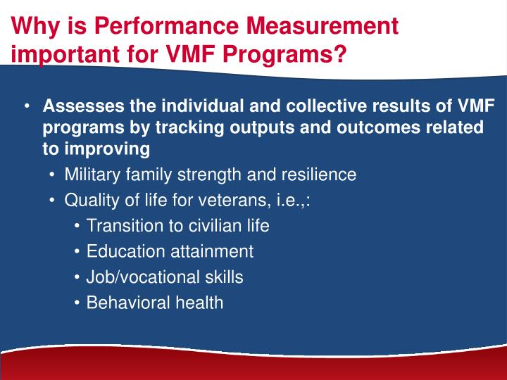 Why is Performance Measurement important for VMF Programs?