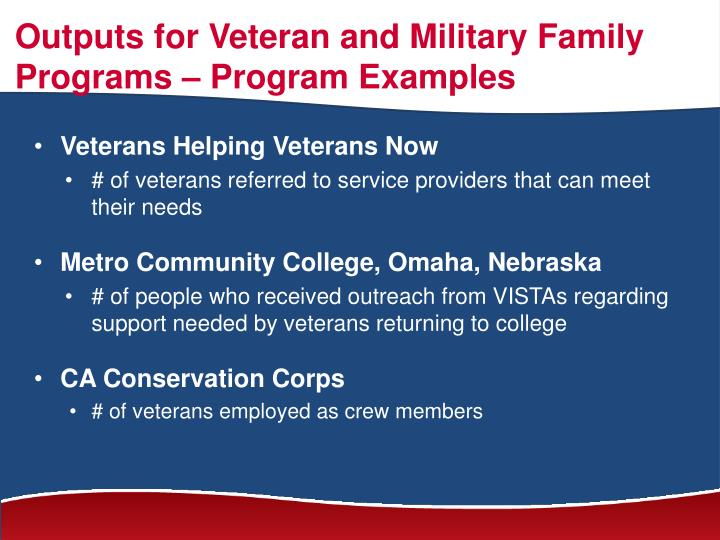 Outputs for Veteran and Military Family Programs – Program Examples