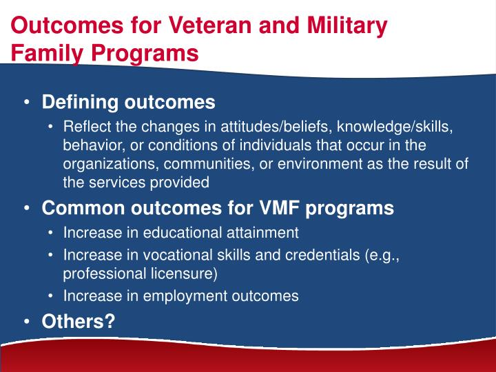 Outcomes for Veteran and Military Family Programs