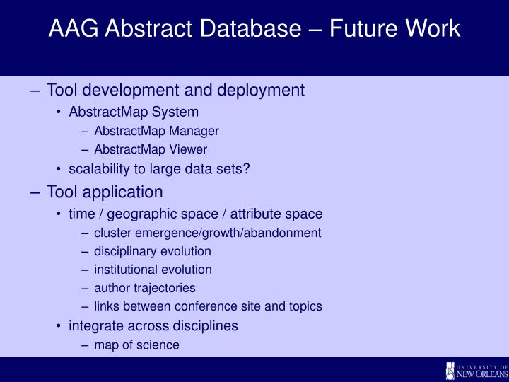 AAG Abstract Database – Future Work