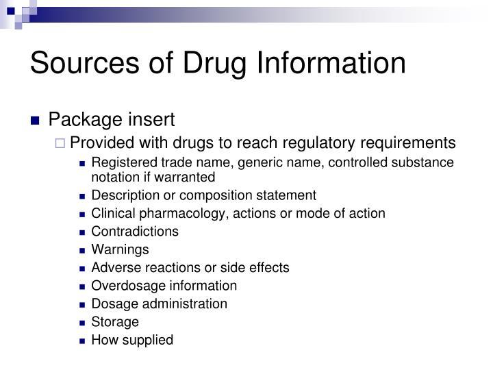 Sources of Drug Information