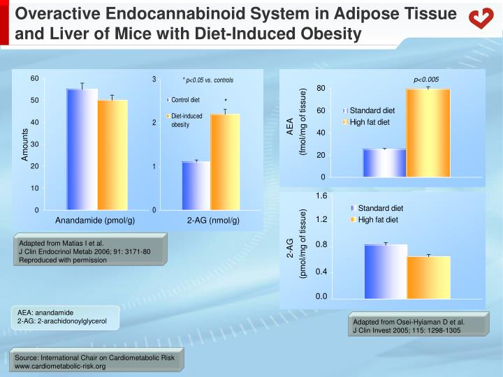 Overactive Endocannabinoid System in Adipose Tissue and Liver of Mice with Diet-Induced Obesity