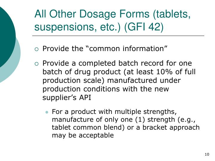 All Other Dosage Forms (tablets, suspensions, etc.) (GFI 42)