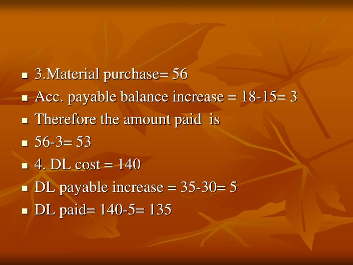 3.Material purchase= 56
