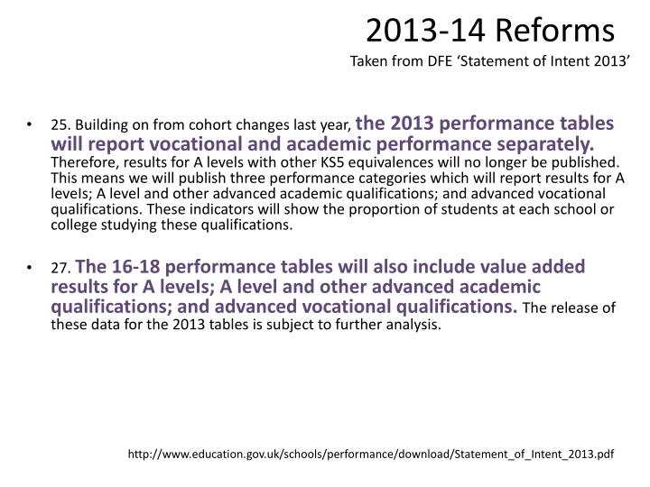 2013-14 Reforms
