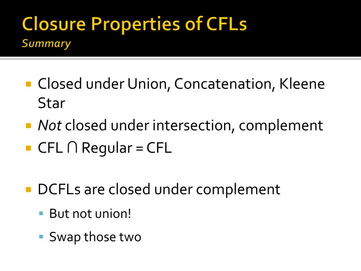Closure Properties of CFLs