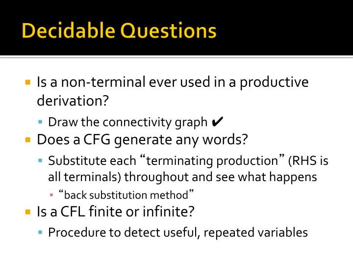 Decidable Questions