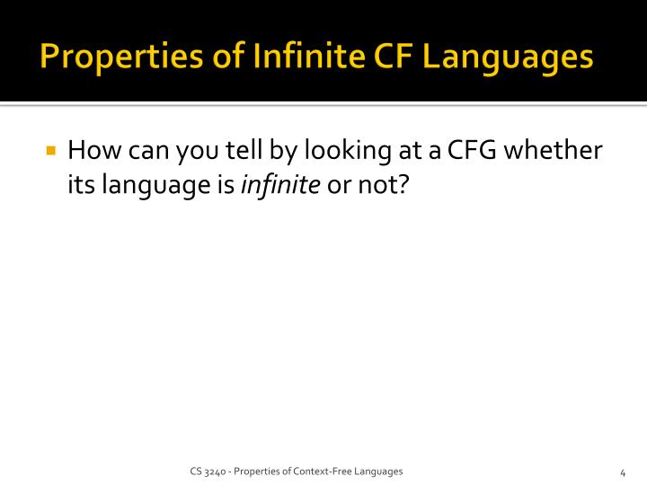Properties of Infinite CF Languages