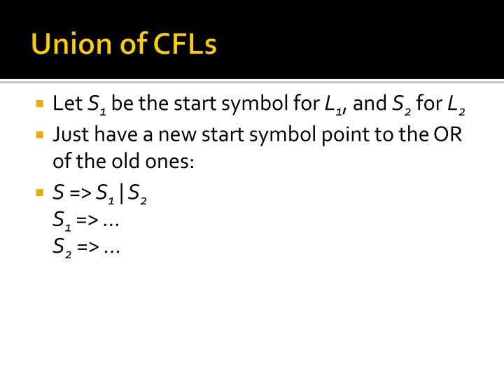 Union of CFLs