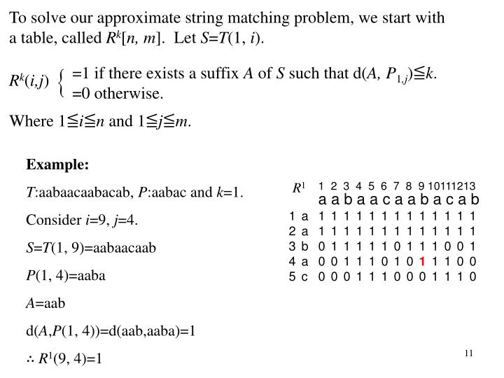 To solve our approximate string matching problem, we start with a table, called