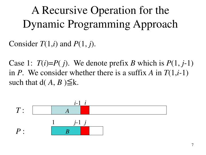 A Recursive Operation for the Dynamic Programming Approach