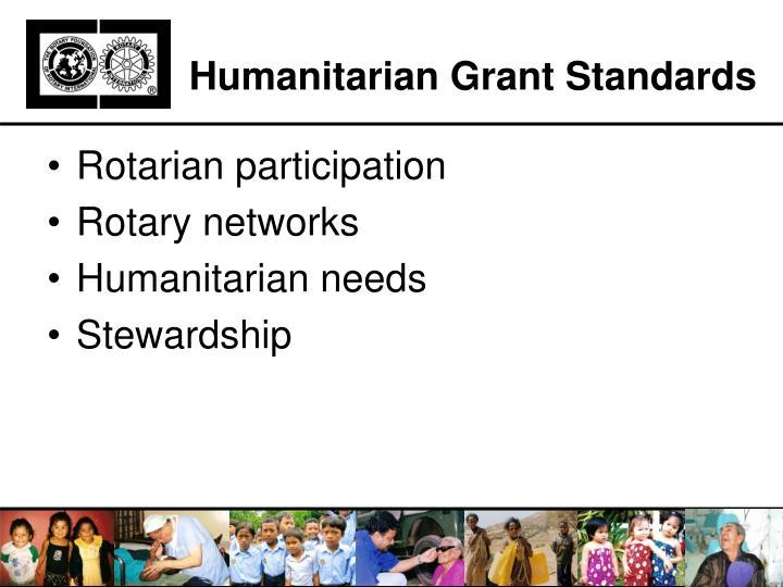 Humanitarian Grant Standards