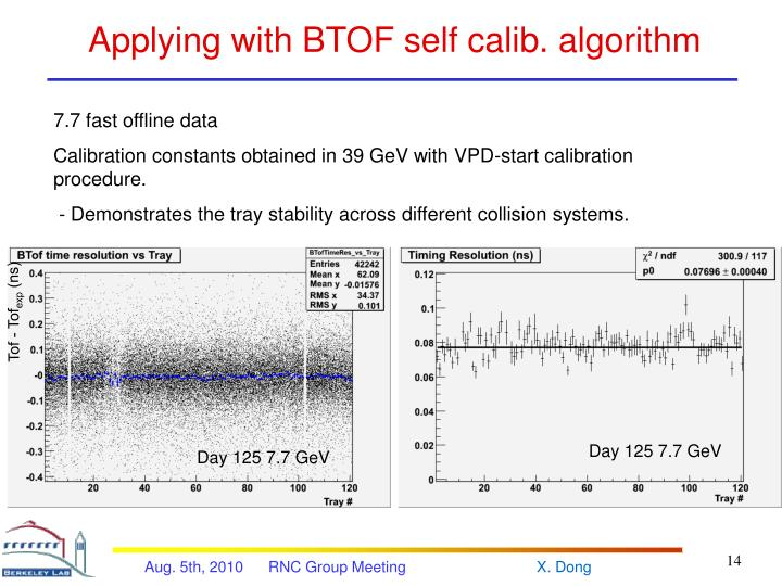Applying with BTOF self calib. algorithm