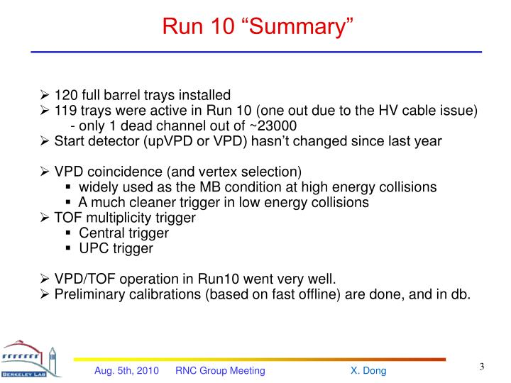 Run 10 summary