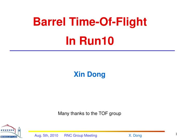 Barrel Time-Of-Flight