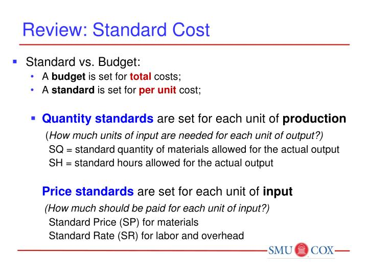 Review: Standard Cost