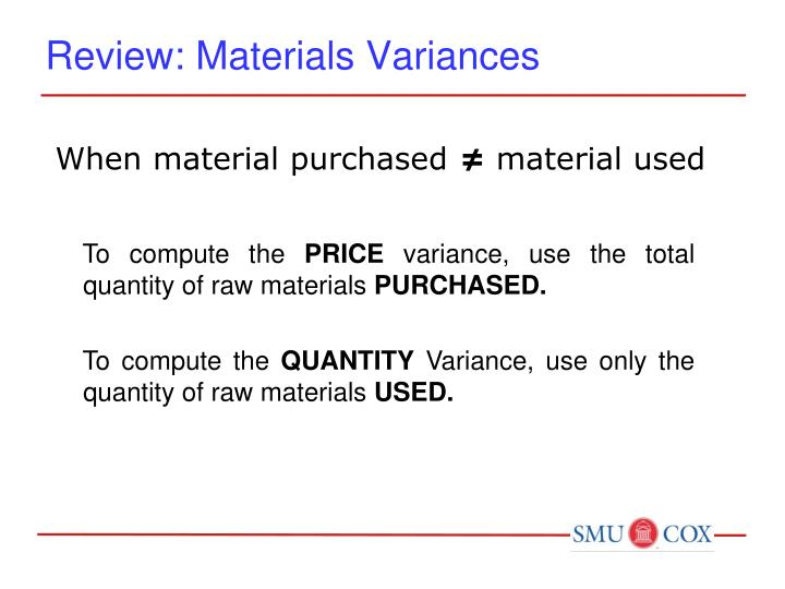 Review: Materials Variances