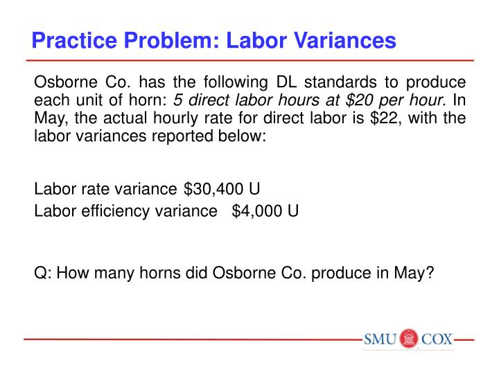 Practice Problem: Labor Variances