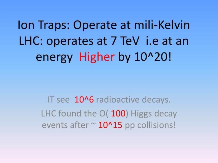 Ion Traps: Operate at mili-Kelvin